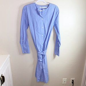 & Other Stories Blue Striped Belted Shirt Dress